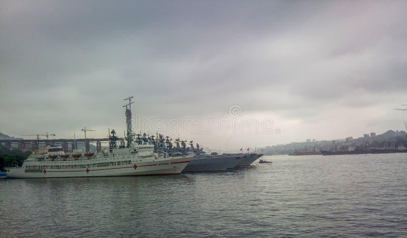 Okręt szpitalny «Irtysh «w zatoce Złoty róg zdjęcia royalty free