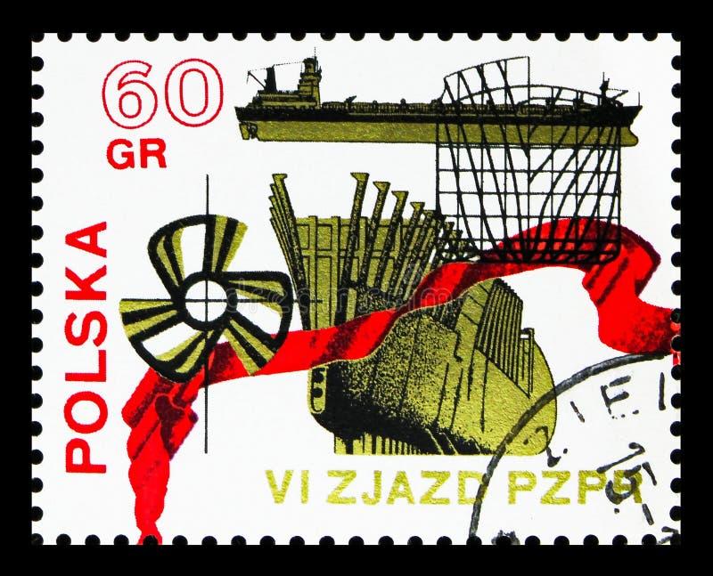 Okrętownictwo, 6th kongres Polski Zlany pracownika przyjęcia seria około 1971, ilustracja wektor