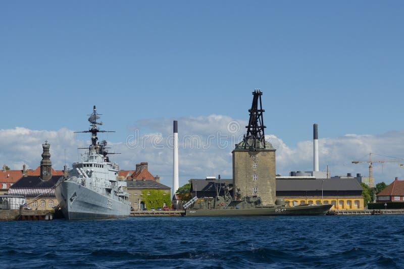 Okręty wojenni w Kopenhaga fotografia royalty free