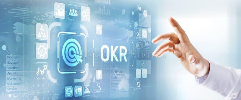 OKR宗旨关键结果企业技术概念 按按钮的商人 库存例证