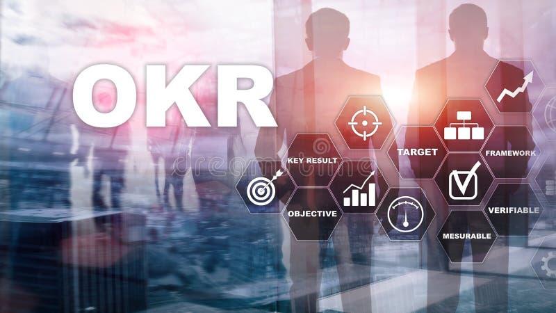 OKR - celu klucza rezultata pojęcie Mieszani środki na wirtualnym zbudowanym ekranie Zarządzanie Projektem royalty ilustracja