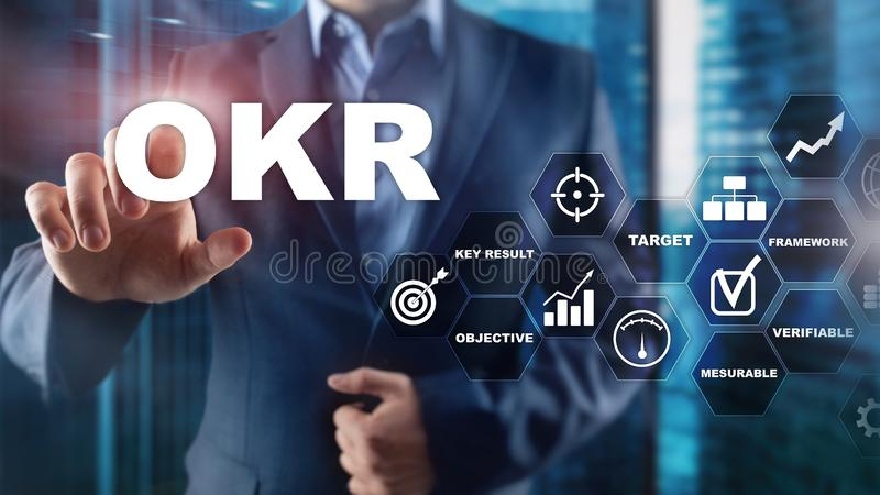 OKR - concepto dominante objetivo del resultado Técnicas mixtas en una pantalla estructurada virtual Gestión de proyectos imagen de archivo libre de regalías
