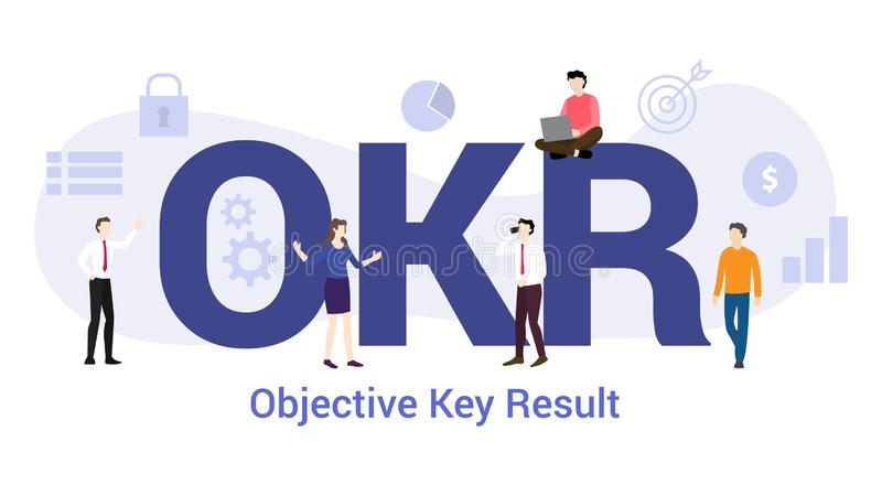 Okr objective key result concept with big word or text and team people with modern flat style - vector stock illustration