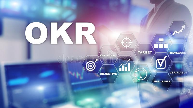 OKR - objective key result concept. Mixed media on a virtual structured screen. Project management.  stock illustration