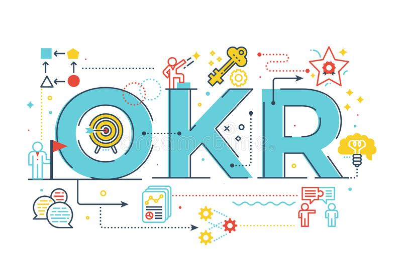 OKR Objectives and key resultsword lettering illustration. With icons for web banner, flyer, landing page, presentation, book cover, article, etc stock illustration