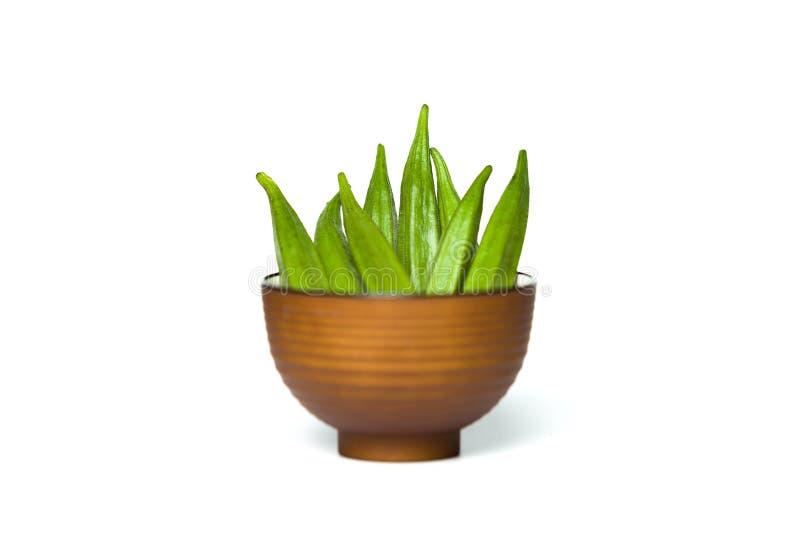 Okra σε ένα κύπελλο στοκ φωτογραφία με δικαίωμα ελεύθερης χρήσης