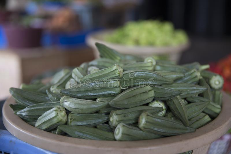 Okra in basket from Ghana Market stock photo