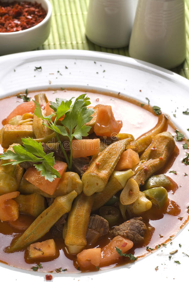Download Okra with meat stock photo. Image of okra, sauce, diet - 13287846