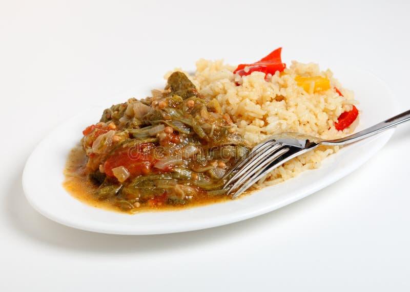 Okra Stew And Cajun Rice Stock Photo