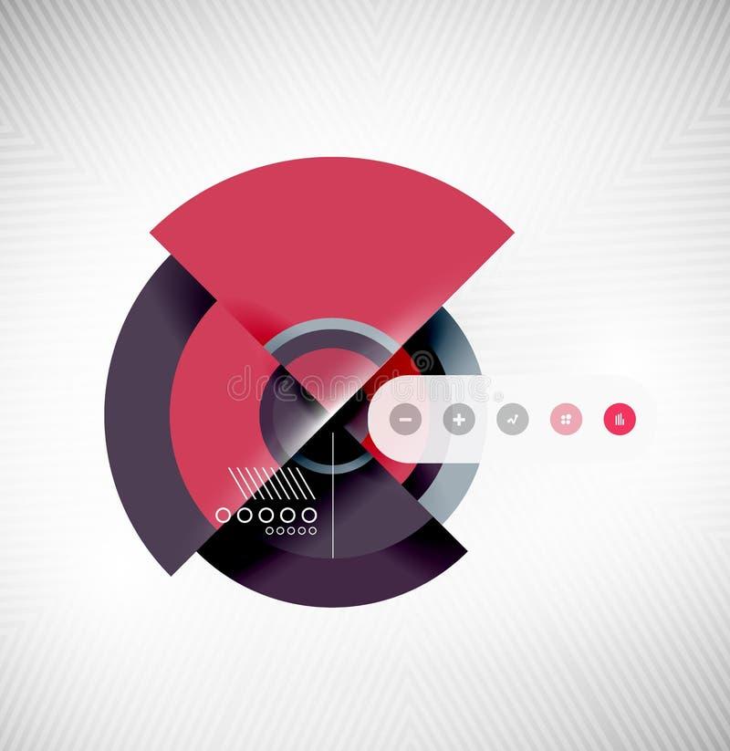 Okregów geometrycznych kształtów interfejsu płaski projekt ilustracja wektor