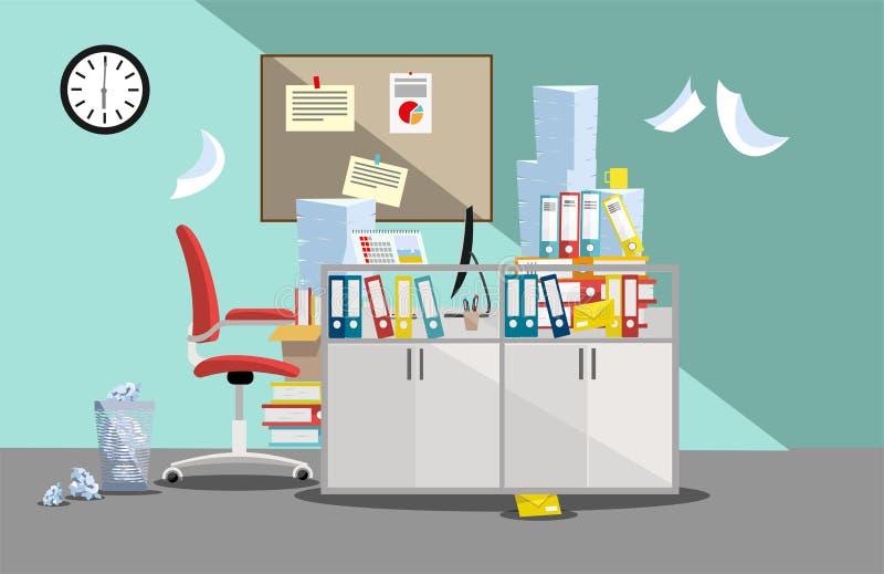 Okres księgowi i finansistów raportów uległość Stos papierowi dokumenty i kartotek falcówki w kartonach na biurze ilustracja wektor