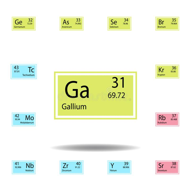 Okresowa stołowego elementu gal koloru ikona Set substancja chemiczna znaka koloru ikona Znaki i symbol inkasowa ikona dla stron  ilustracja wektor