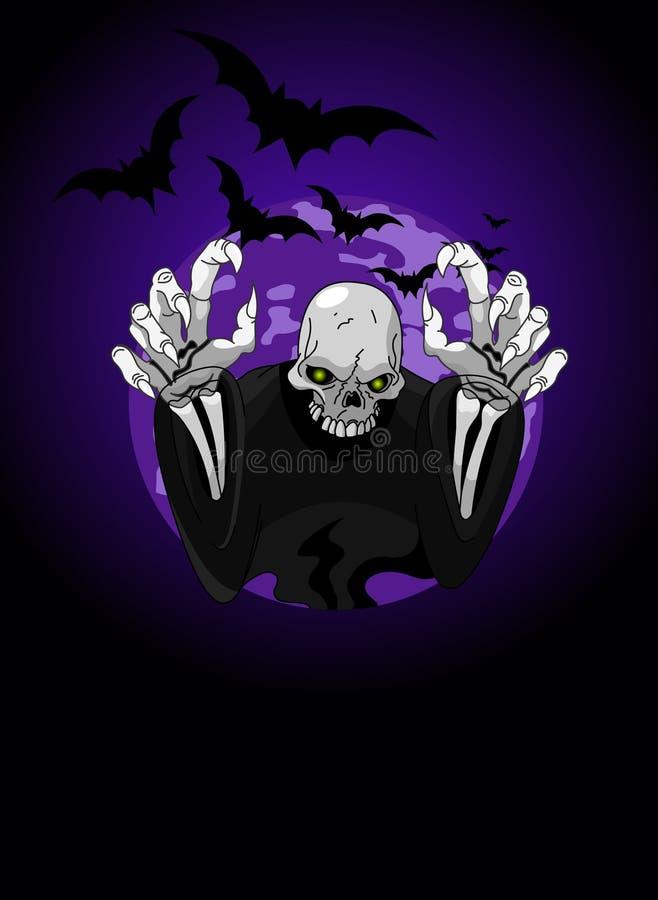 okropna Halloween ponura żniwiarka ilustracji