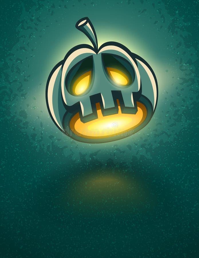 Okropna lampion głowa dla Halloween karty ilustracja wektor