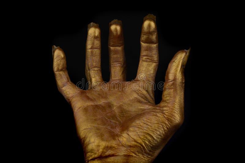 Okropna ludzka ręka na czarnym tle obraz royalty free