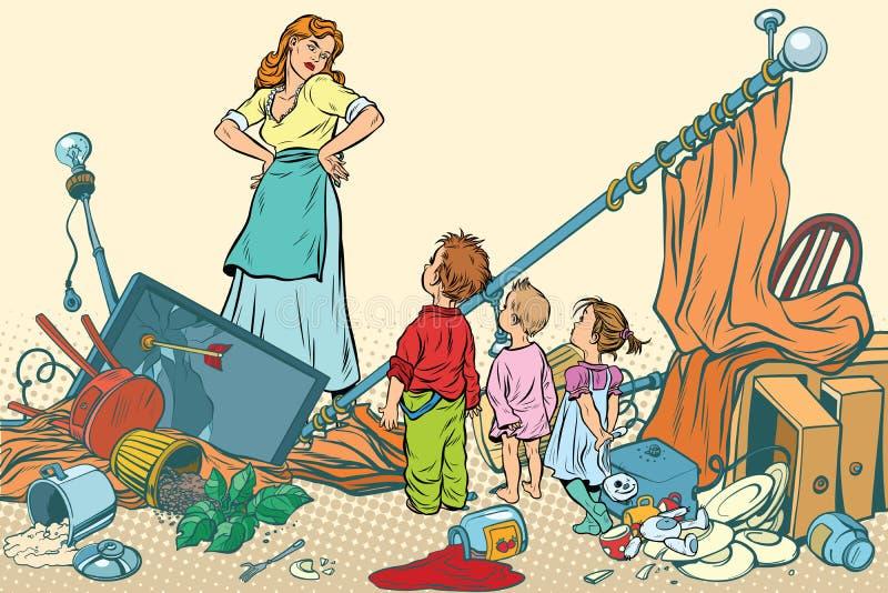 Okropna matka i dzieciaki zrobiliśmy bałaganowi w domu ilustracja wektor