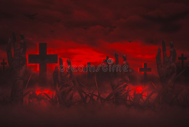 Okropna noc Z niebem wyłania się od grób w cmentarzu, Halloweenowy pojęcie Z żywego trupu wskrzeszania ręką ilustracji
