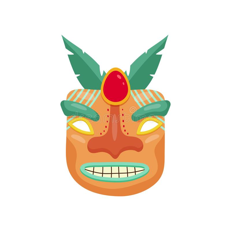 Okropna prehistoryczna afrykanin maska z toothy strasznym usta i duży czerwony gemstone między oczami royalty ilustracja