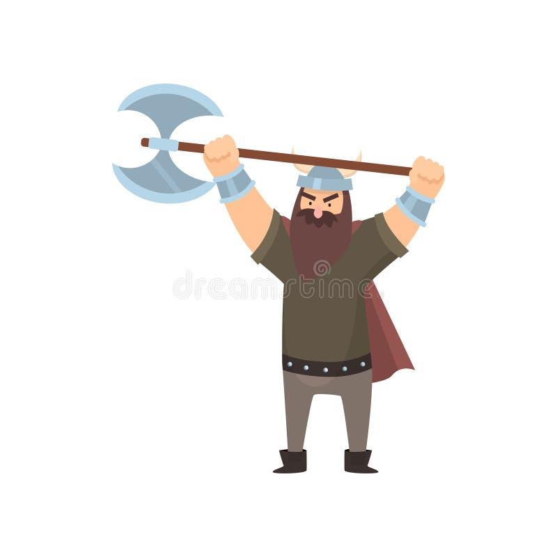 Okropny brodaty Viking mienia bitwy ax w dwa rękach nad głowa nad białym tłem ilustracja wektor