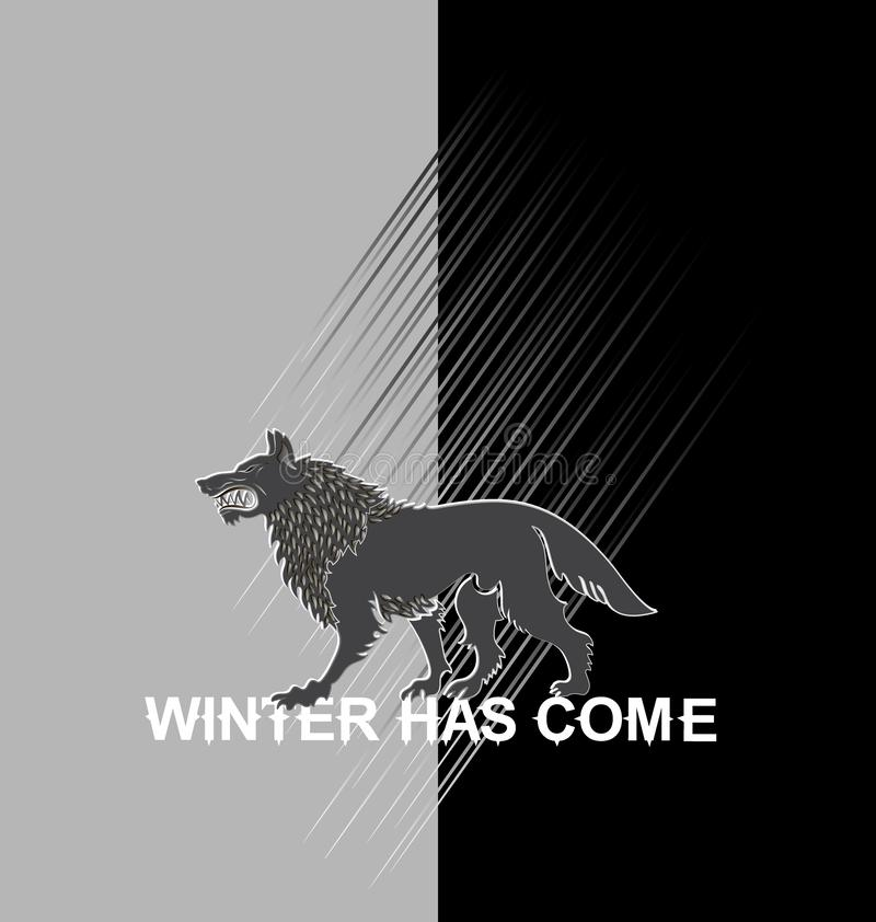 Okropny wilk na czarny i biały tle ilustracja wektor