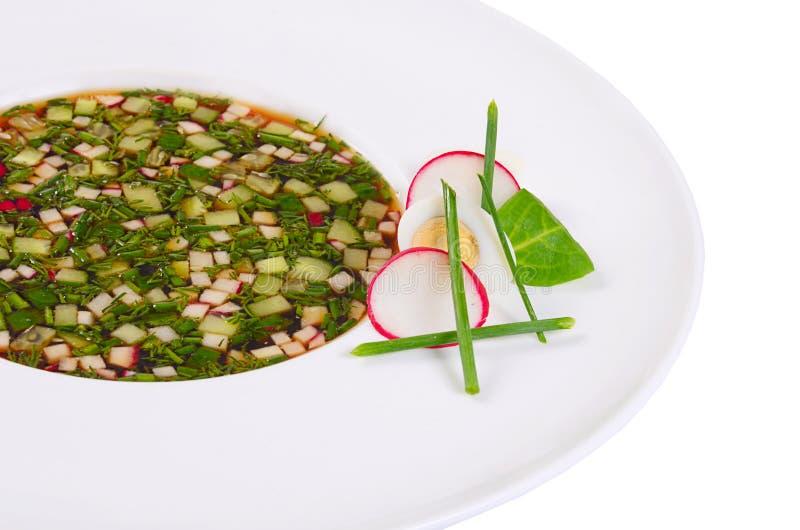 Okroshka от свежих овощей холодный суп стоковые фотографии rf