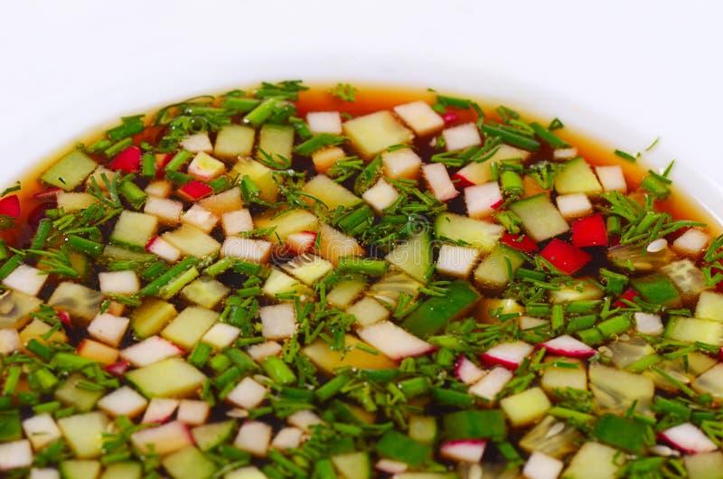 Okroshka от свежих овощей холодный суп стоковая фотография