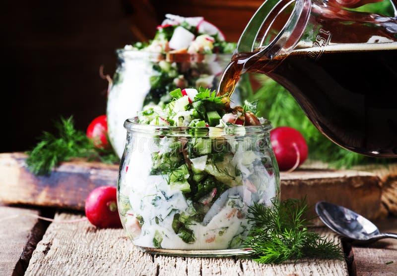 Okroshka -与菜的传统俄国冷的夏天汤, 免版税库存图片