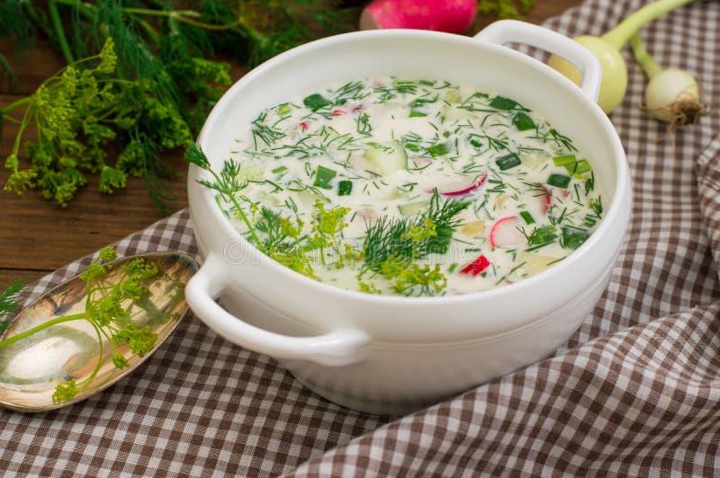 Okroshka 夏天清淡的冷的酸奶汤用黄瓜、萝卜、鸡蛋和莳萝在一张木桌上 木背景 关闭 免版税库存图片