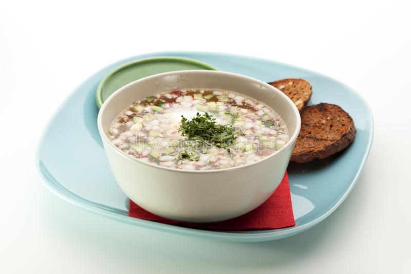 Okroshka. Cold Soup with Vegetables stock photo