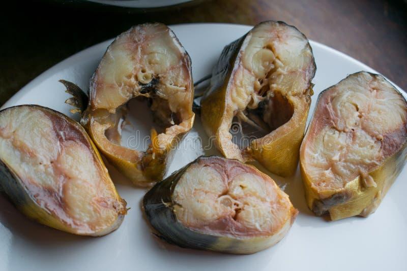 Okroshka del frío, vegetal y apetitoso, con los pescados de la caballa ahumada, sopa hecha en casa fría con crema agria foto de archivo libre de regalías