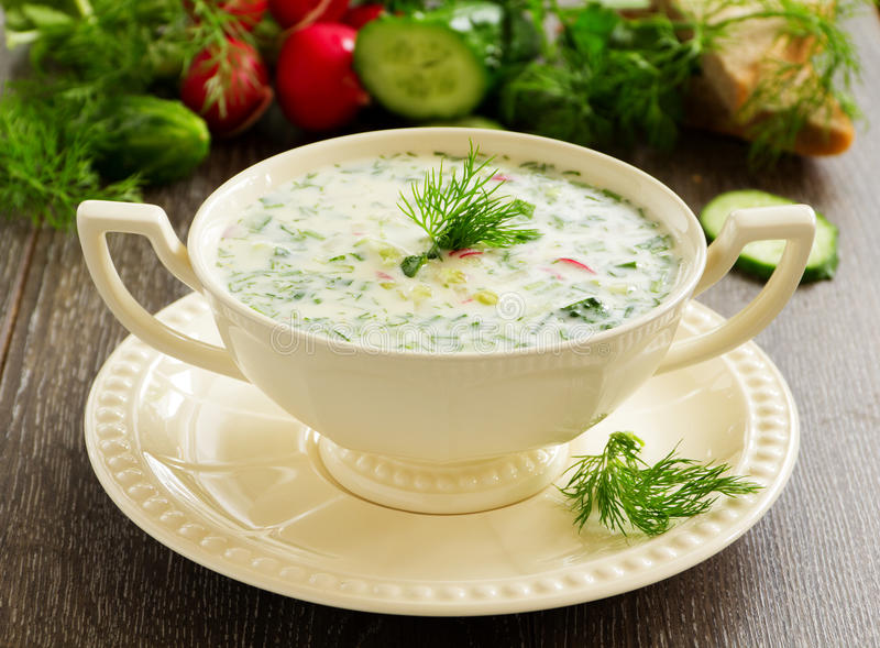 Okroshka - Russian kvass Cold Soup. With Vegetables stock images