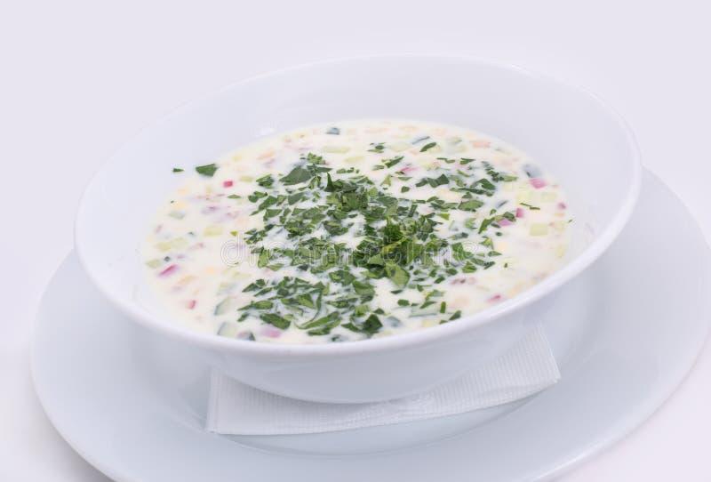 Okroshka Sopa fr?a ligera del yogur del verano fotografía de archivo