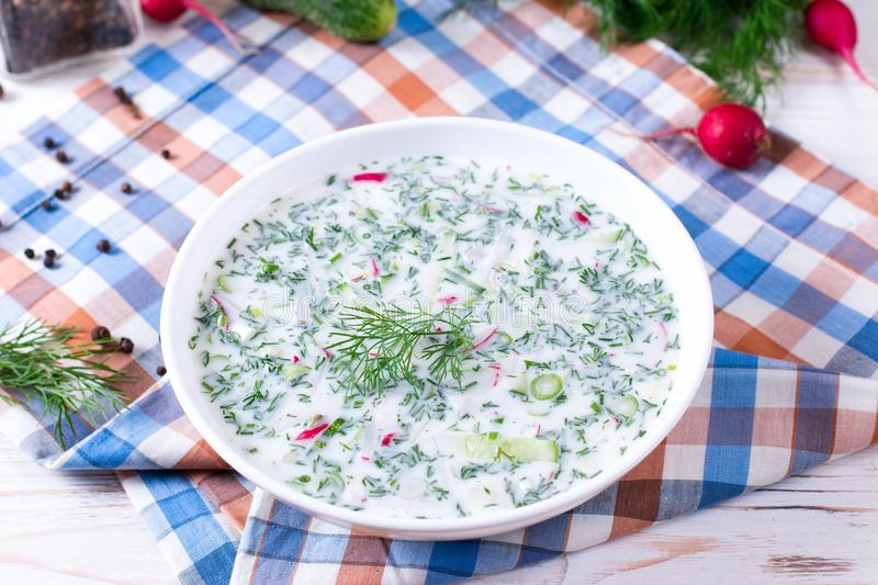 Okroshka. Summer light cold yogurt soup with cucumber, radish, eggs and dill on a table. stock image
