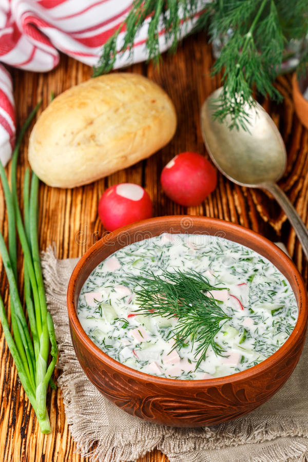 Okroshka. Summer light cold yogurt soup with cucumber, radish, eggs and dill royalty free stock photography