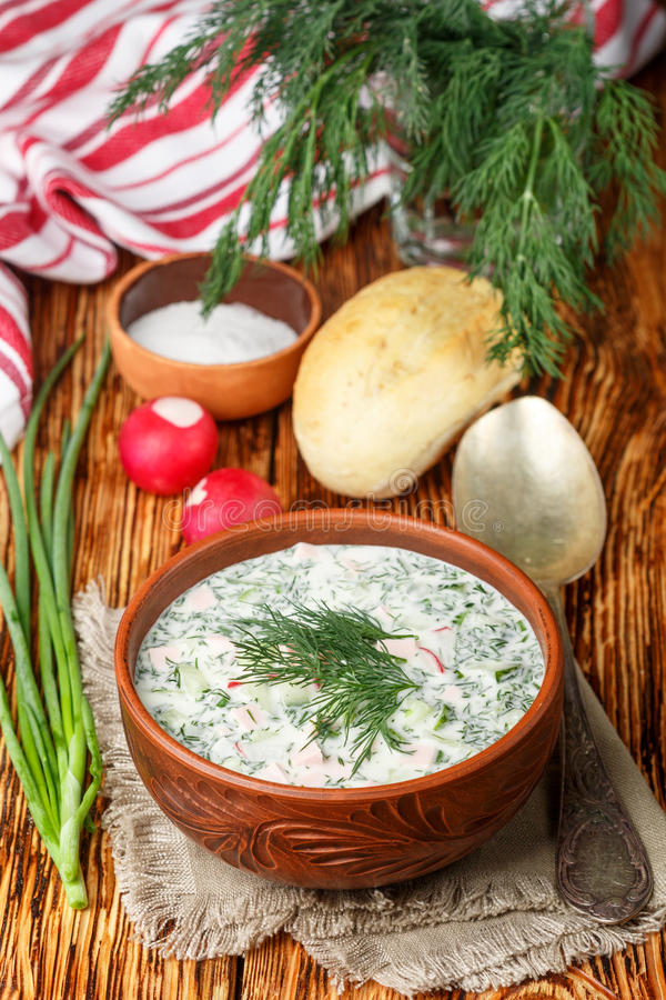 Okroshka. Summer light cold yogurt soup with cucumber, radish, eggs and dill stock image