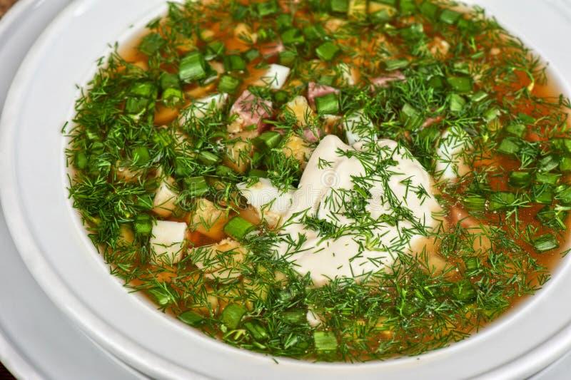 Okroshka. Traditional Russian kvass soup with vegetables - okroshka stock photography
