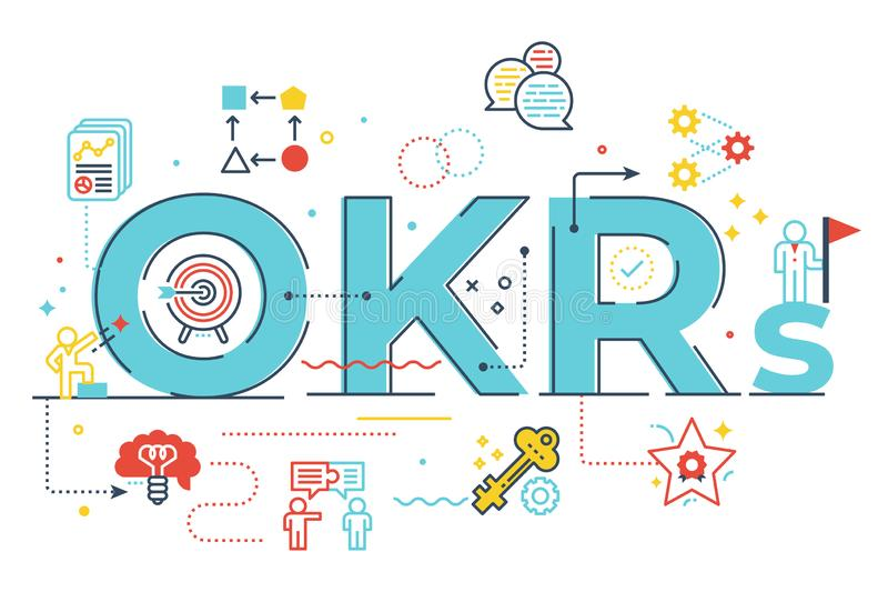 OKRs Objectives and key resultsword lettering illustration. With icons for web banner, flyer, landing page, presentation, book cover, article, etc stock illustration