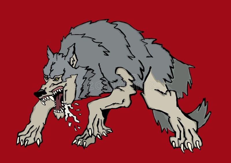 Okrutnie duży wilk ilustracja wektor
