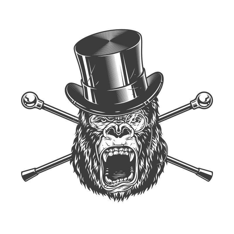 Okrutnie goryl głowa w butla kapeluszu ilustracji