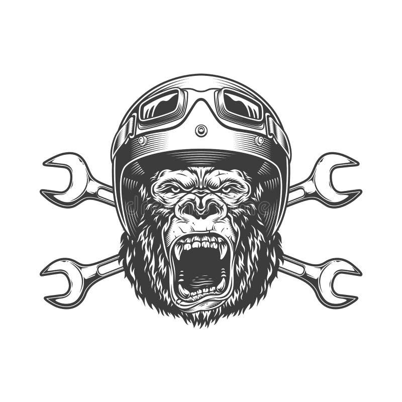 Okrutnie goryl głowa w moto hełmie ilustracji
