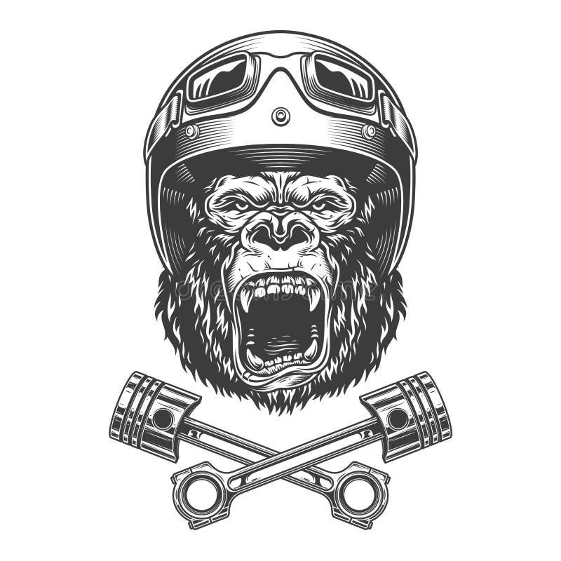Okrutnie goryl głowa w motocyklu hełmie ilustracji