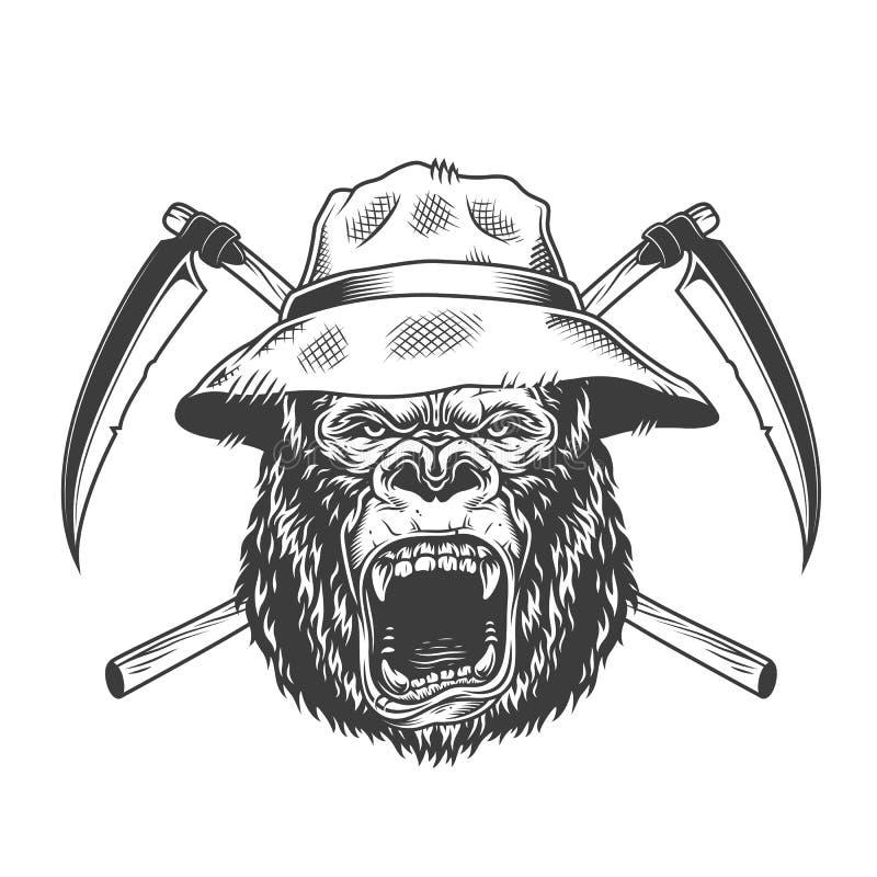 Okrutnie goryl głowa w Panama kapeluszu royalty ilustracja