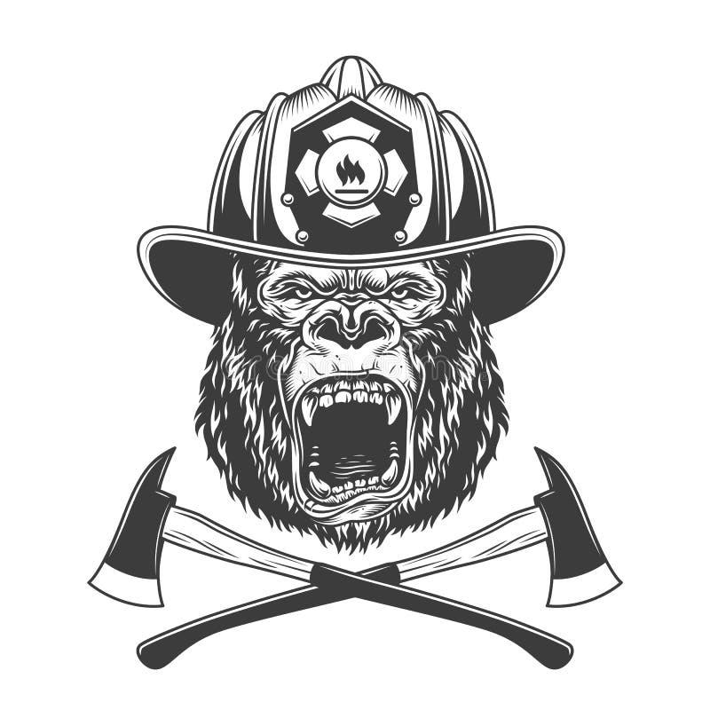 Okrutnie goryl głowa w strażaka hełmie ilustracja wektor
