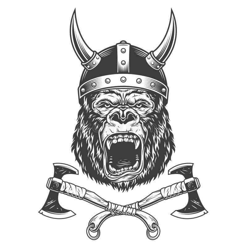 Okrutnie goryl głowa w Viking hełmie ilustracji