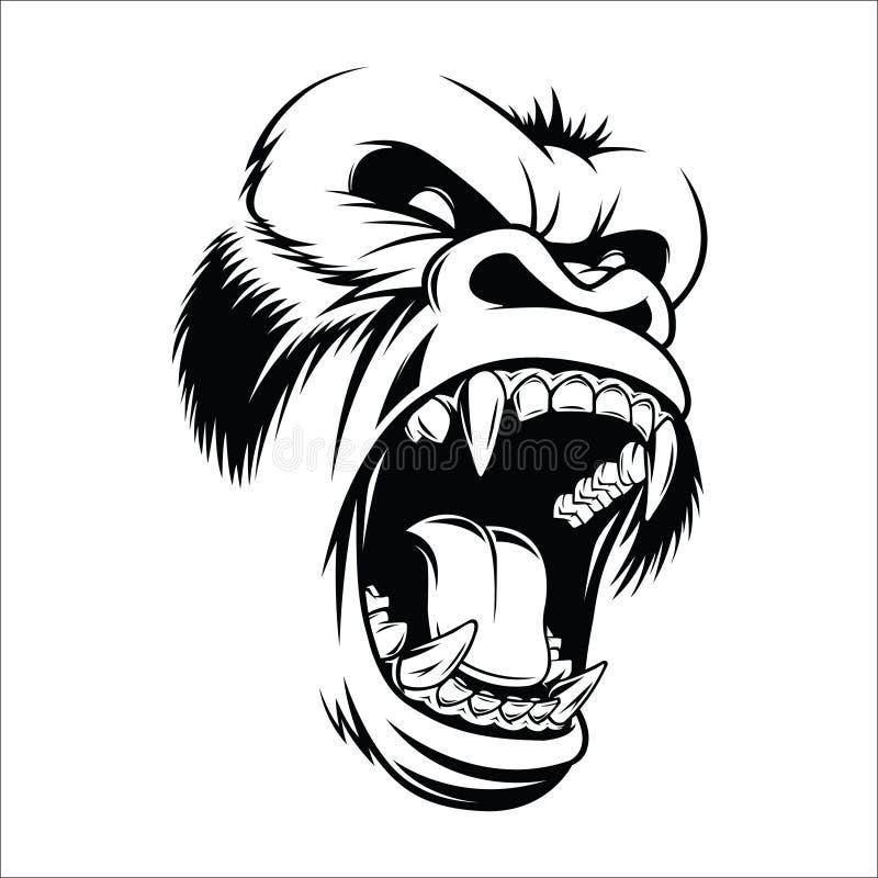Okrutnie goryl głowy wektoru wizerunek ilustracji