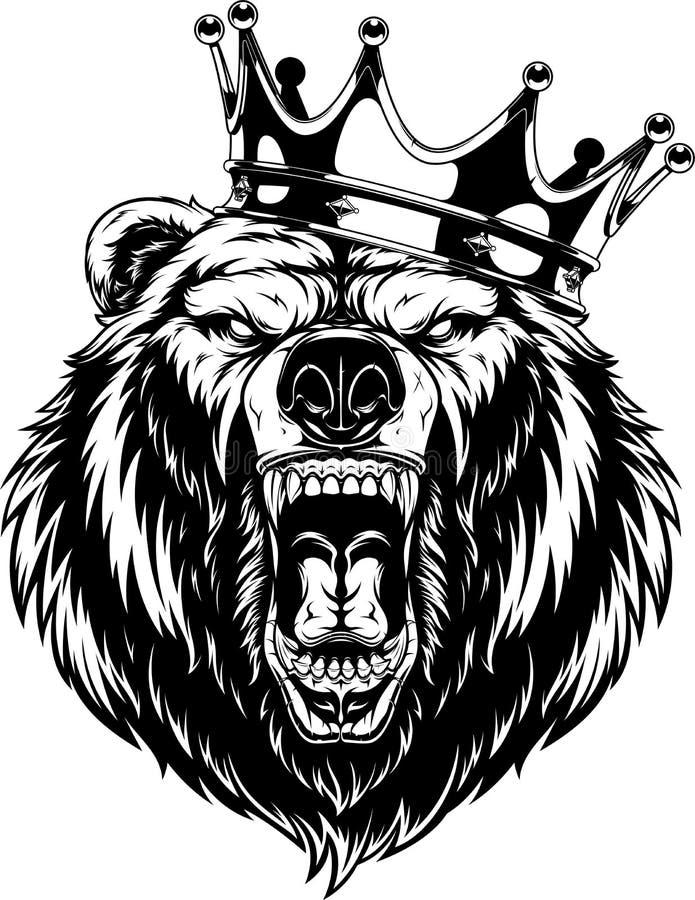 Okrutnie niedźwiedź w koronie royalty ilustracja