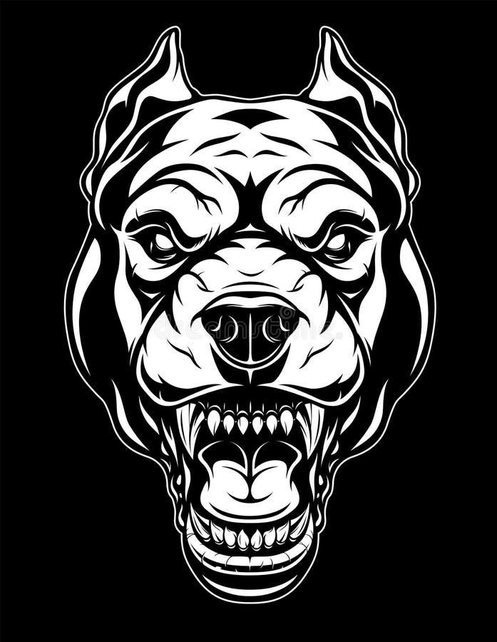 Okrutnie pit bull głowa ilustracji