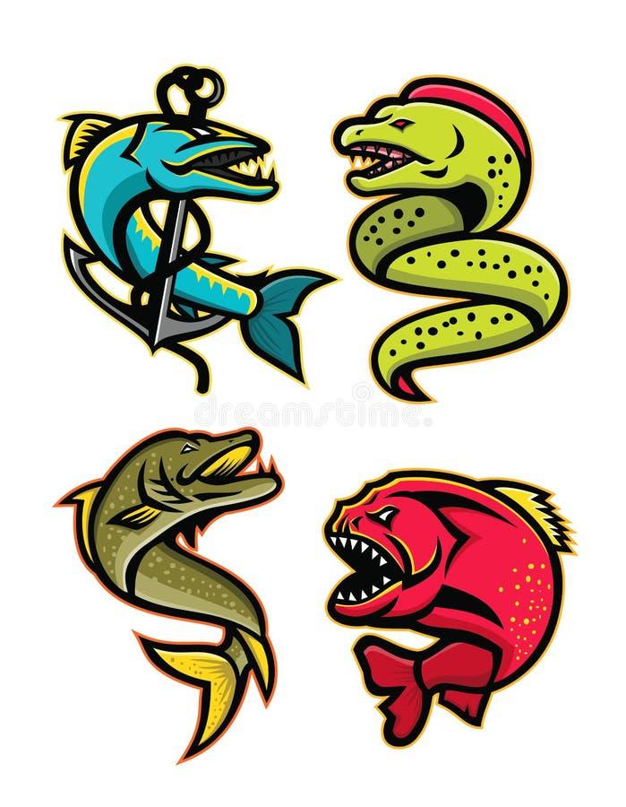 Okrutnie ryba sportów maskotki kolekcja ilustracji