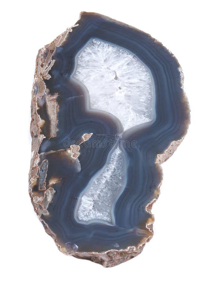 Okrzesana Wielka Naturalna agat cegiełka od Brazylia odizolowywał na białym tle Agat geody plasterek Krystaliczny pokazu kawałek zdjęcia royalty free