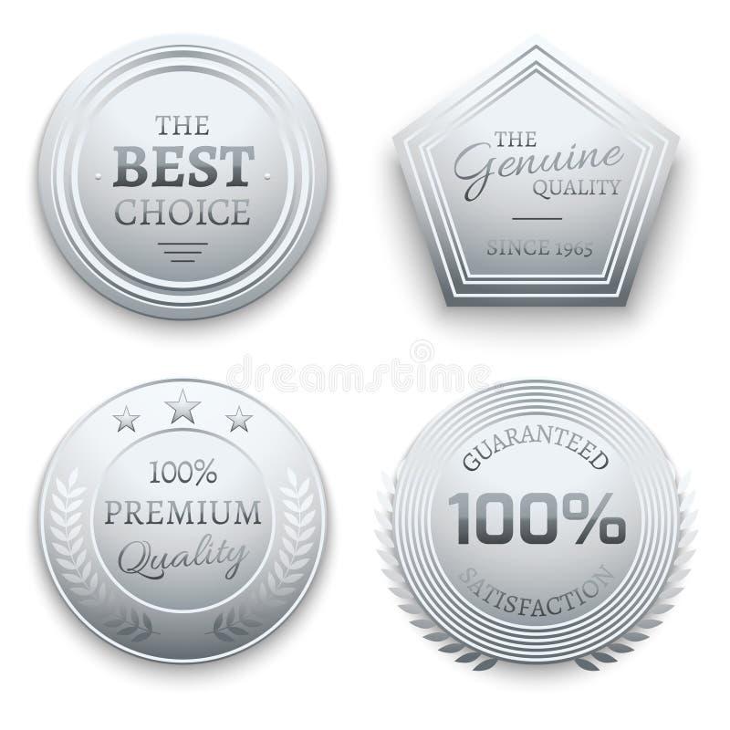 Okrzesanej srebnej metal premii wektorowy majcher, etykietka, etykietka, odznaka ilustracji